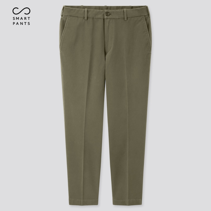Men Ezy 2-Way Stretch Cotton Ankle-Length Pants, Olive, Large