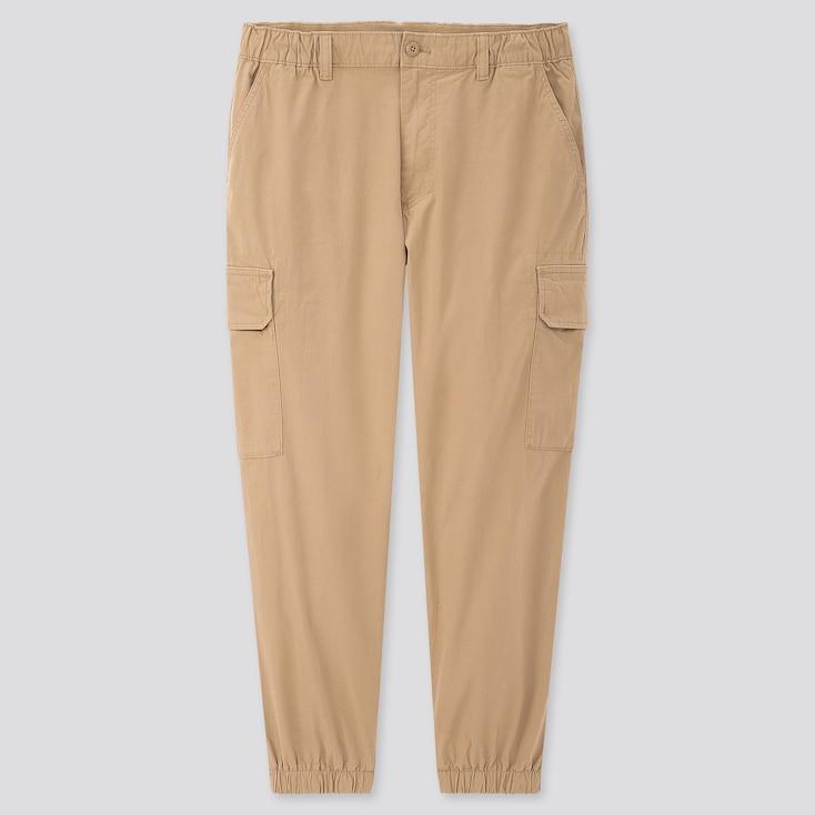 Men Ezy Wide-Fit Cargo Jogger Pants, Khaki, Large