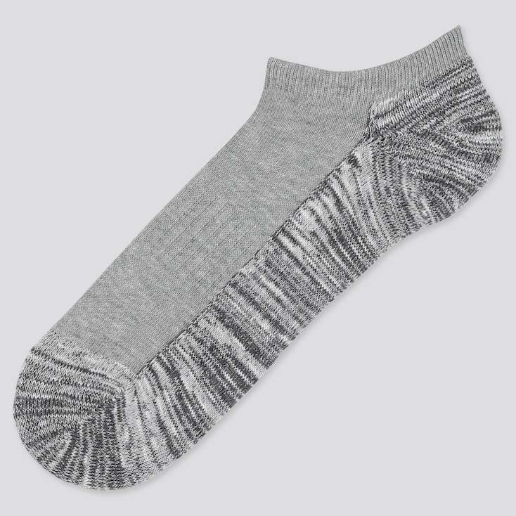 Men Color Block Short Socks, Gray, Large