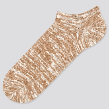 Men Heather Short Socks, Beige, Medium