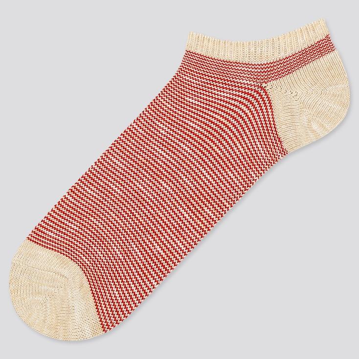 Men Multi-Striped Short Socks, Red, Large