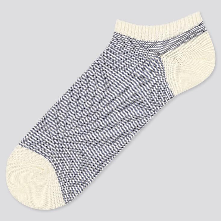 Men Multi-Striped Short Socks, Blue, Large