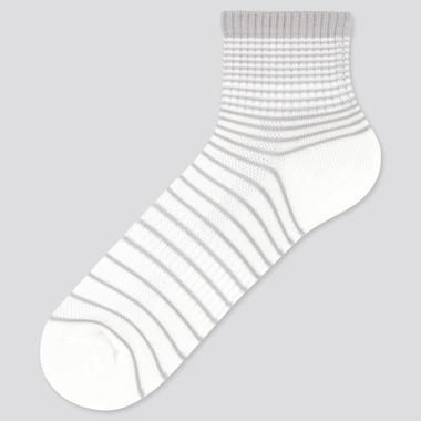 Men Pile Striped Half Socks, White, Medium
