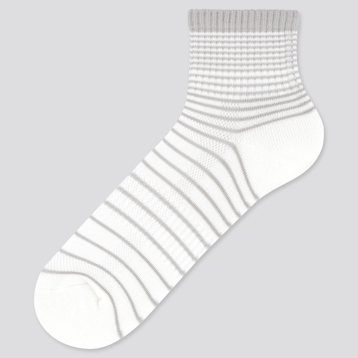 Men Pile Striped Half Socks, White, Large