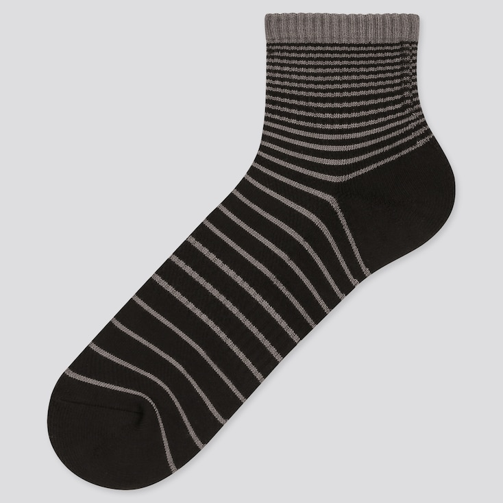 Men Pile Striped Half Socks, Black, Large