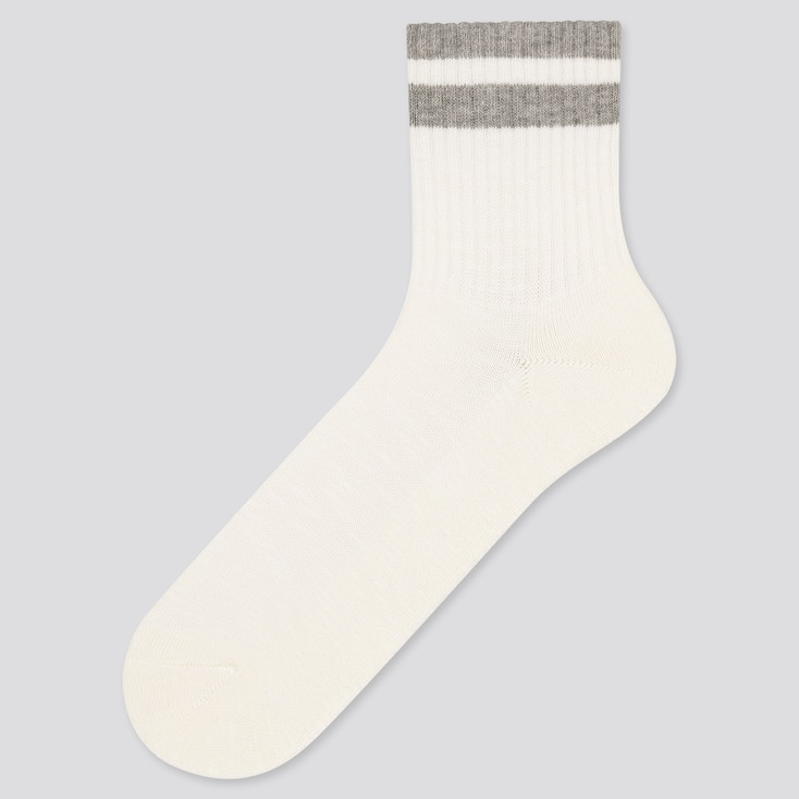 Men Half-Striped Socks, White, Large