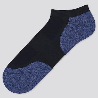 Men Pile Colorblock Short Socks, Navy, Medium