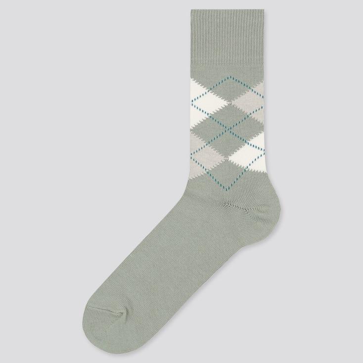 Men Argyle Socks, Green, Large