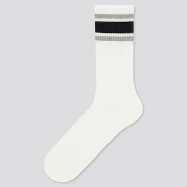 Men Pile Striped Socks, White, Medium