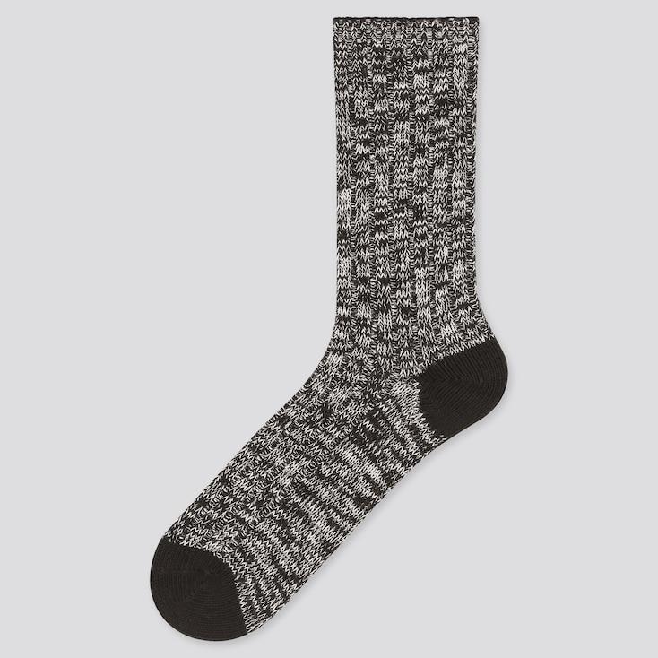Men Slub Socks, Black, Large