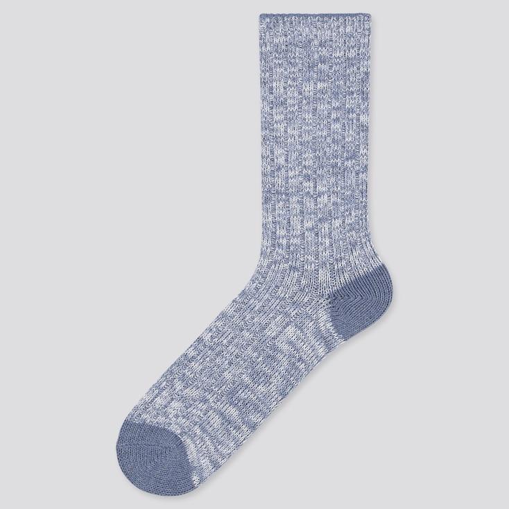 Men Slub Socks, Blue, Large