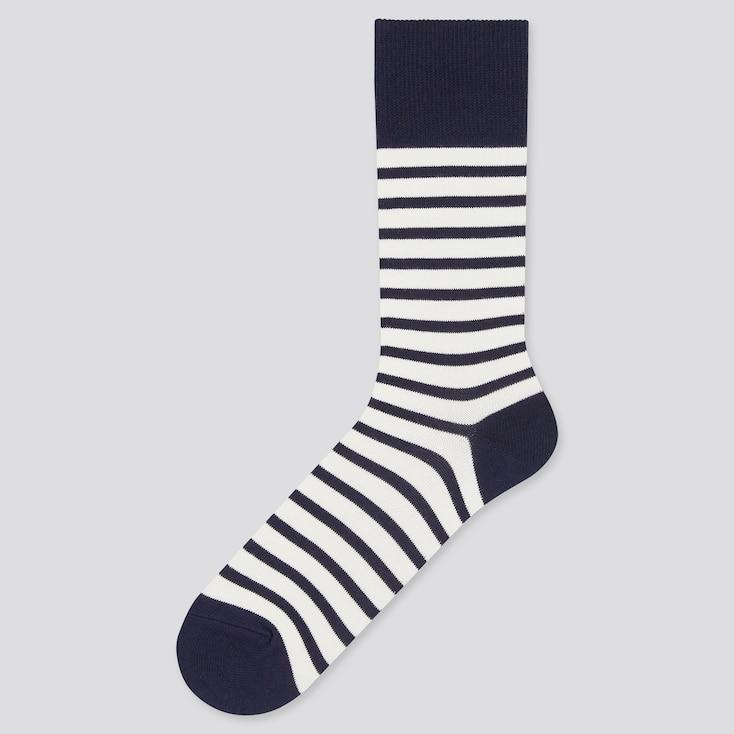 Men Striped Socks, Off White, Large