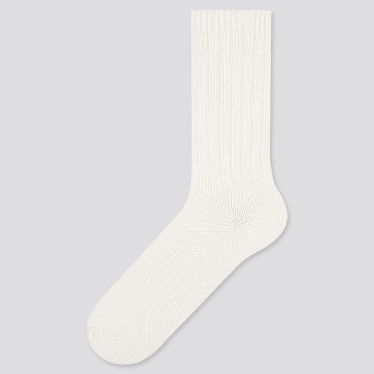 Men Low Gauge Socks, White, Large