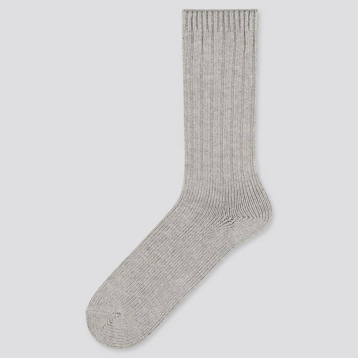 Men Low Gauge Socks, Gray, Large