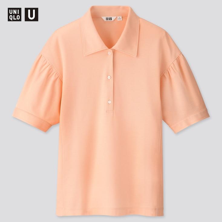 Women U Gathered Sleeve Polo Shirt, Pink, Large