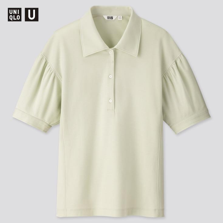 Women U Gathered Sleeve Polo Shirt, Light Green, Large