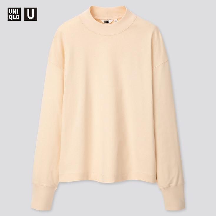 Women U Mock Neck Long-Sleeve T-Shirt, Off White, Large