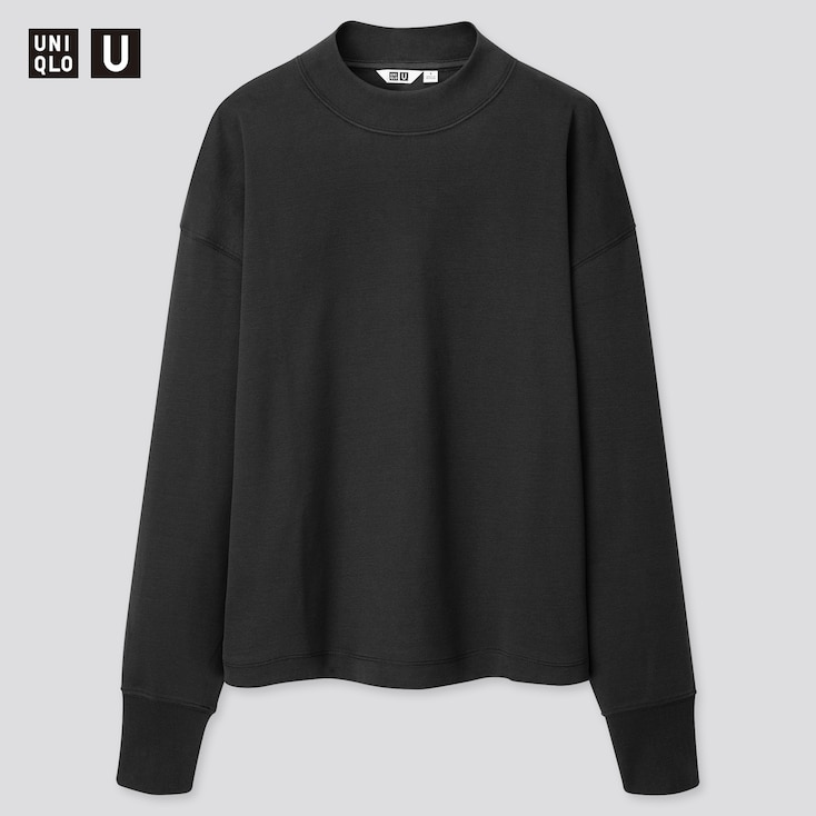 Women U Mock Neck Long-Sleeve T-Shirt, Dark Gray, Large