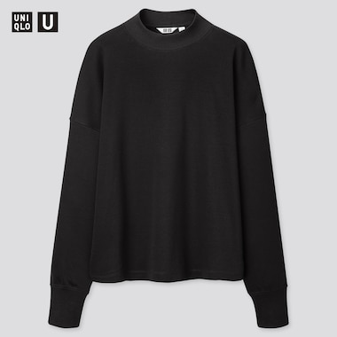 Women U Mock Neck Long-Sleeve T-Shirt, Black, Medium