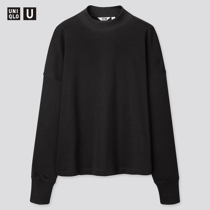 Women U Mock Neck Long-Sleeve T-Shirt, Black, Large