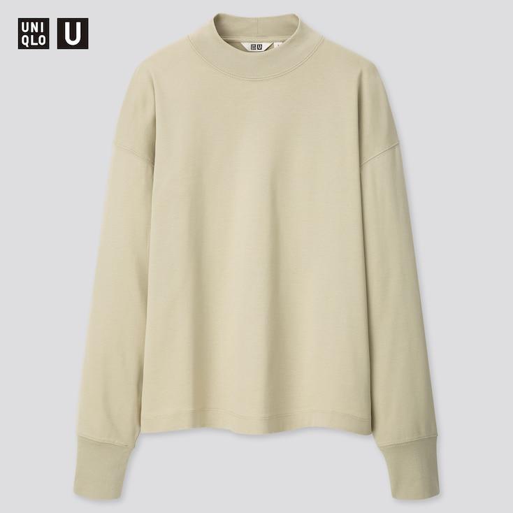 Women U Mock Neck Long-Sleeve T-Shirt, Light Green, Large