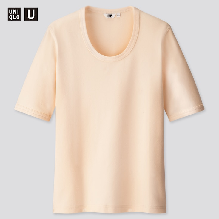 Women U Fitted Short-Sleeve T-Shirt, Off White, Large