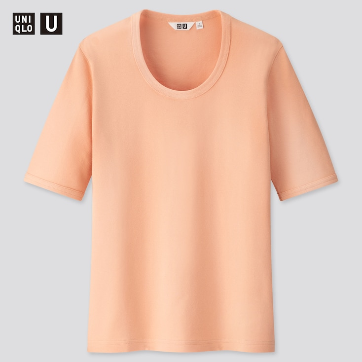 Women U Fitted Short-Sleeve T-Shirt, Light Orange, Large