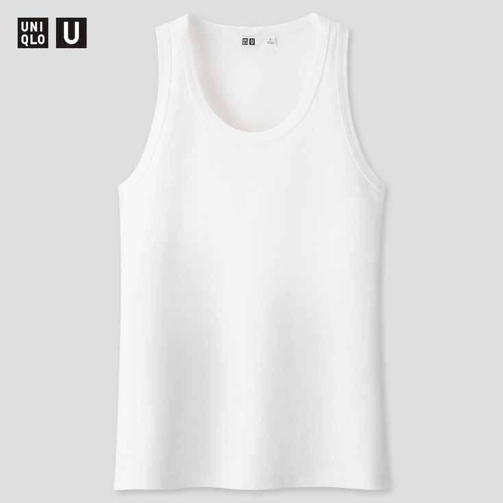Women U Fitted Tank Top, White, Large
