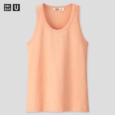 Women U Fitted Tank Top, Light Orange, Medium