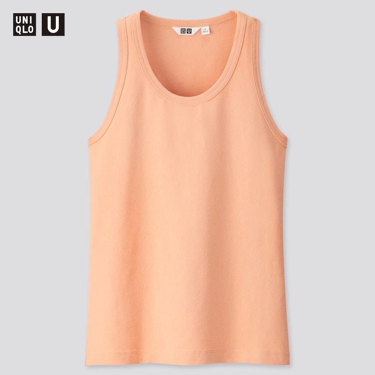 Women U Fitted Tank Top, Light Orange, Large