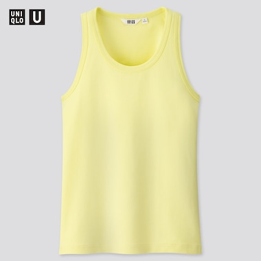 Women U Fitted Tank Top, Yellow, Medium