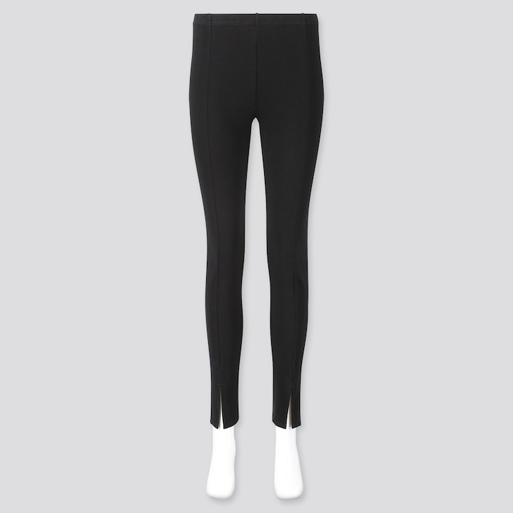 Women Ribbed Front Slit Leggings, Black, Large