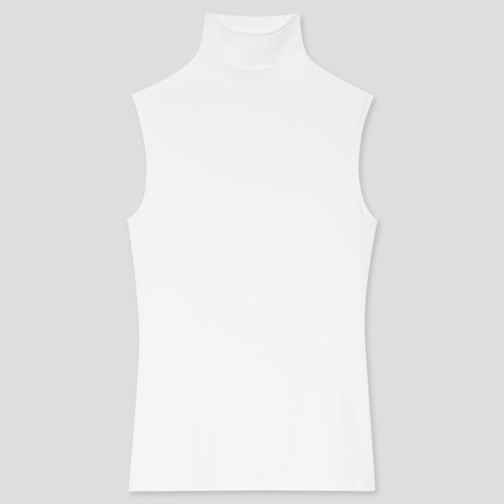 Women Airism Uv Protection High-Neck Sleeveless T-Shirt, White, Large