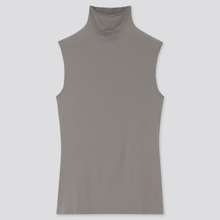 Women Airism Uv Protection High-Neck Sleeveless T-Shirt, Gray, Large
