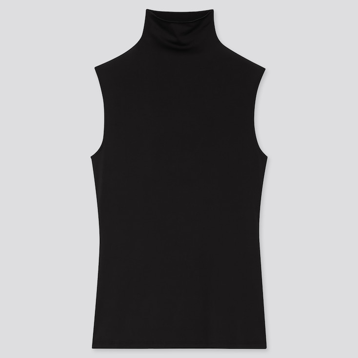 Women Airism Uv Protection High-Neck Sleeveless T-Shirt, Black, Large