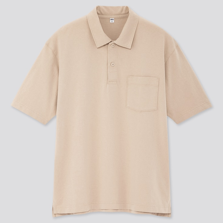 Men Cotton Jersey Oversized Polo Shirt, Natural, Large