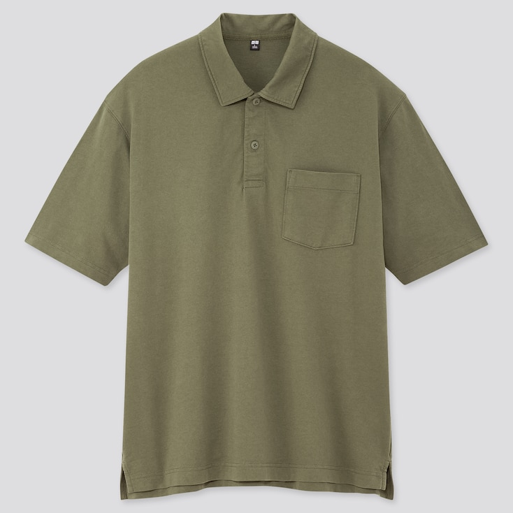 Men Cotton Jersey Oversized Polo Shirt (Online Exclusive), Olive, Large