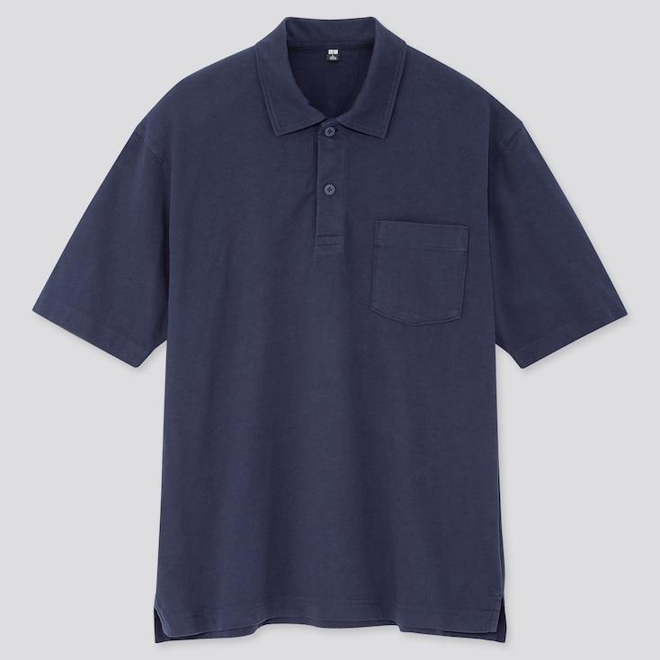 Men Cotton Jersey Oversized Polo Shirt (Online Exclusive), Blue, Large