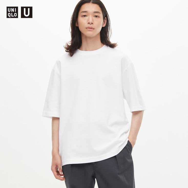 Men U Airism Cotton Crew Neck Oversize T-Shirt, White, Large