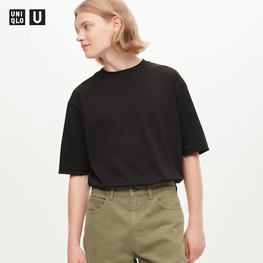 Men U Airism Cotton Crew Neck Oversized T-Shirt, Black, Medium