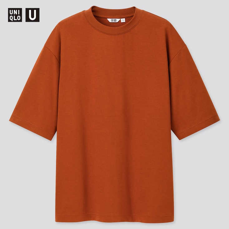 Men U Airism Cotton Crew Neck Oversize T-Shirt, Dark Orange, Large