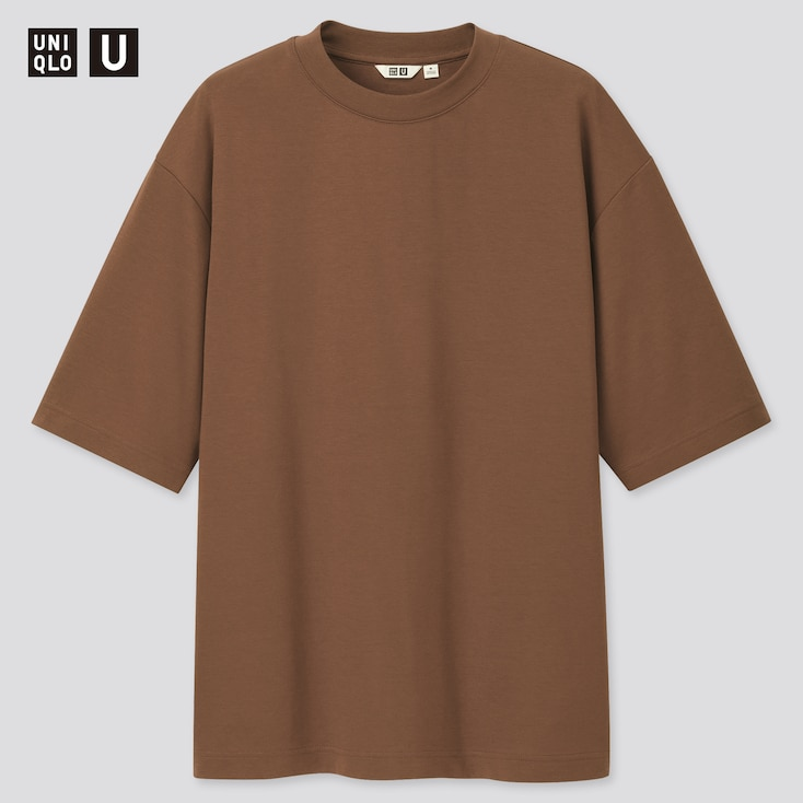 Men U Airism Cotton Crew Neck Oversized T-Shirt, Dark Brown, Large