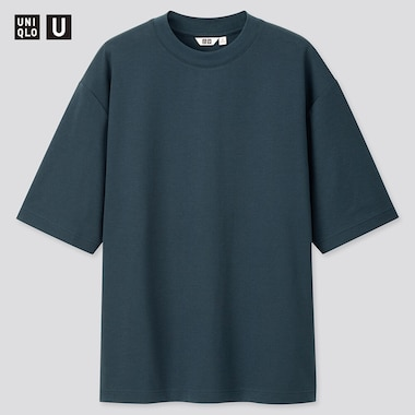 Men U Airism Cotton Crew Neck Oversized T-Shirt, Blue, Medium