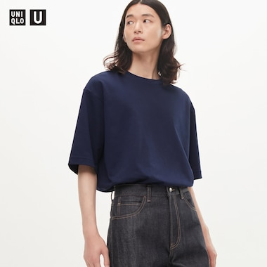 Men U Airism Cotton Crew Neck Oversized T-Shirt, Navy, Medium