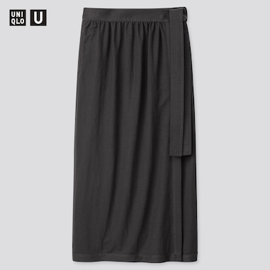 Women U Twill Jersey Wrap Skirt, Dark Gray, Medium