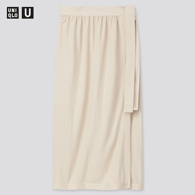 Women U Twill Jersey Wrap Skirt, Natural, Medium