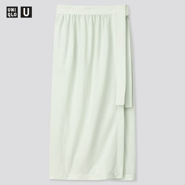 Women U Twill Jersey Wrap Skirt, Light Green, Medium