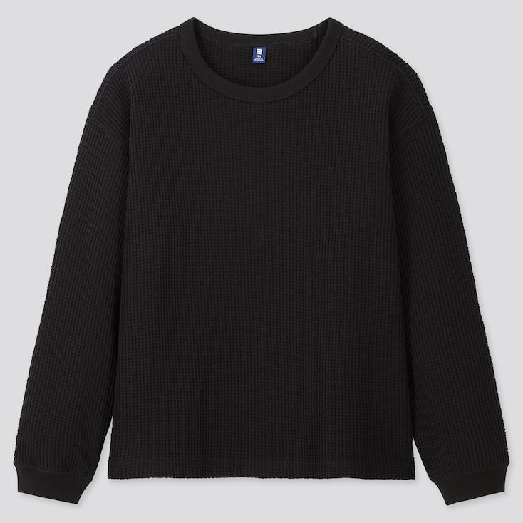 Kids Waffle Crew Neck Long-Sleeve T-Shirt, Black, Large