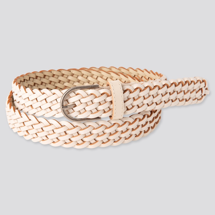 Women Mesh Belt, Off White, Large