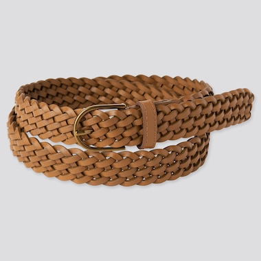 Women Mesh Belt, Brown, Medium